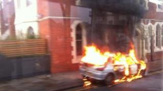 Burning car on Trent Bridge