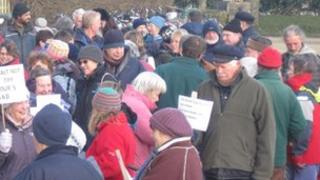 Protesters in Sark