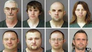 Eight mugshots of people thought to belong to the Michigan-based Hutaree militia 29 March 2010