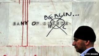Greek protests outside bank