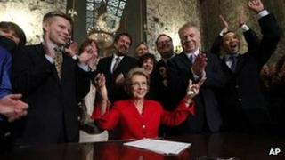 Washington Gov Christine Gregoire, after signing the state's gay marriage bill into law in Olympia, Washington 13 February 2012