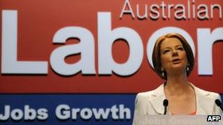 Julia Gillard making her first address as Australian PM to the 46th national conference of the Australian Labor Party (ALP) in Sydney on 2 December, 2011