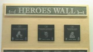 Heroes Wall at Melior Community College, Scunthorpe