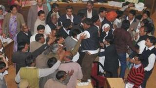 Councillors fighting in Jaipur municipality
