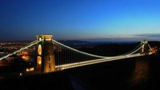 Clifton Suspension Bridge by night