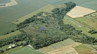 Aerial view of RSPB Fowlmere reserve