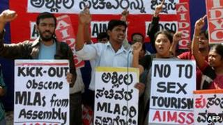 Activists of All India Democratic Students Organisation (AIDSO) stage a protest against the three BJP ministers of Karnataka involved in a pornography row in Bangalore - 8 February 2012