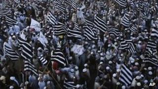 Supporters of the pro-Taliban Jamiat Ulema Islam party at a rally in Karachi