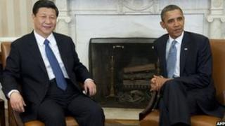 US President Barack Obama (right) and Chinese Vice-President Xi Jinping in the Oval Office on 14 February 2012