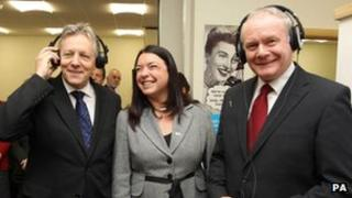 Peter Robinson and Martin McGuinness at the opening of the Action on Hearing Loss office