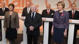 Sean Gallagher, Dana Rosemary Scallon, Martin McGuinness, Michael D Higgins, David Norris, Mary Davis, Gay Mitchell