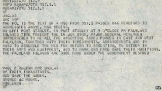 Bonhams undated handout photo of a copy of the original Falklands War Surrender Telex