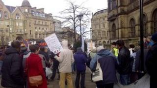 Protest outside Sheffield Town Hall