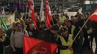 Workers staging a protest outside the Civic Centre