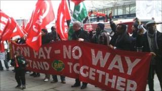 RMT members on the picket line outside St Pancras station