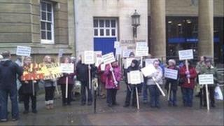 Protesters outside Shire Hall