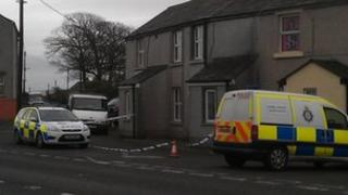 The cordoned off property in Crosby