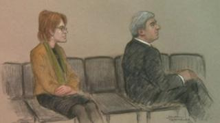 Court sketch of Chris Huhne and Vicky Pryce