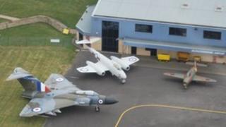 Aircraft outside hangar at Gloucestershire Airport
