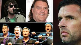 Clockwise from top left Super Furry Animals, Bryn Terfel, Gary Speed and Only Men Aloud
