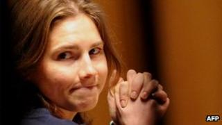 File photo of Amanda Knox before the start of a session of her appeal trial in Perugia's courthouse, 12 March 2011