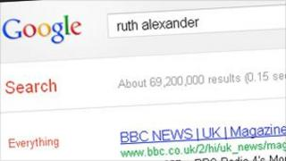 Search result on Google for 'Ruth Alexander'