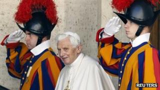 Pope Benedict and Vatican Swiss guards, 17 Feb 12