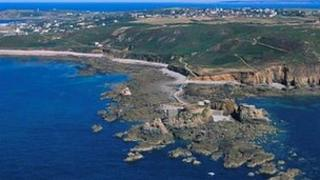 Part of Alderney's coast seen from the air