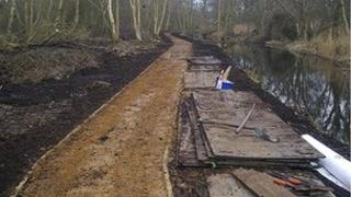 Pathway under construction at Filby Broad
