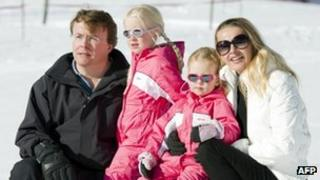 Prince Johan Friso with Princess Mabel and their daughters in Lech, Austria in 2011