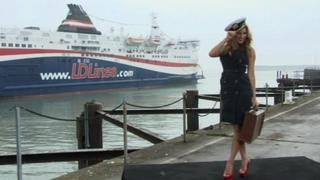 Kelly Brook at the Port of Dover