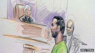 Artist's impression of Amine El Khalifi in Virginia courthouse - 17 February