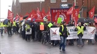 Campaigners against the closure of Filton Airfield in South Gloucestershire