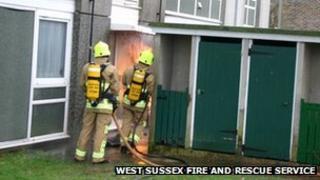 Fire at flats in Warnham Road, Crawley (Photo by Eddie Mitchell)