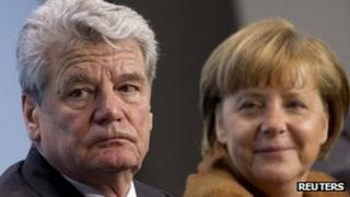 German Chancellor Angela Merkel (right) and Joachim Gauck in Berlin - 19 February 2012