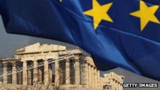 The EU flag flying in front of the Parthenon, Athens, Greece - 17 February 2012