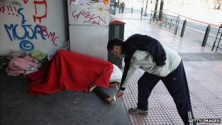 Homeless man on an Athens street, 19 Feb 12