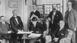 After weeks of negotiations the treaty was signed on 6 December 1921