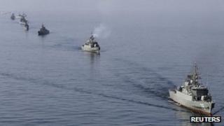 Iranian navy on exercise near Strait of Hormuz. 3 Jan 2012