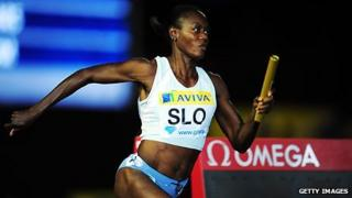 Merlene Ottey competes in London in autumn 2011