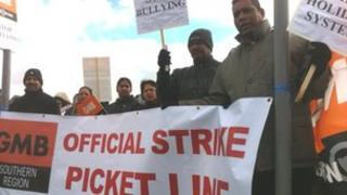 GMB union members on the picket line