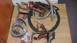 The remains of the bike - picture courtesy British Transport Police