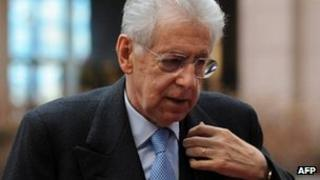 Italian Prime Minister Mario Monti in Brussels, 20 February