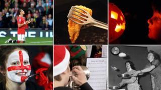 Javier Hernandez, fish, pumpkin, sports fan, carol player and pancake flippers