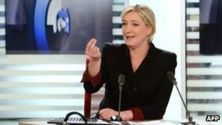 Marine Le Pen during an interview for French TV channel LCI, 21 February