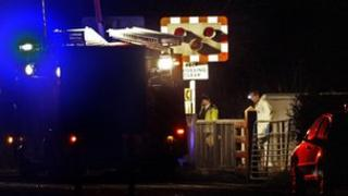 The scene at the level crossing in Ballymoney