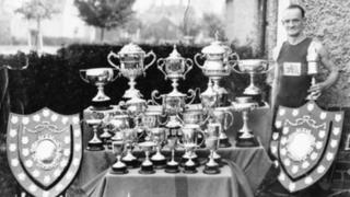 Tommy Green with a selection of his trophies