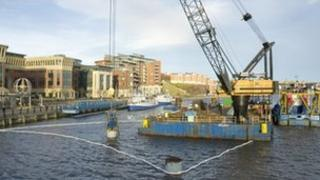 Crane removing bollards on the River Tyne. Photo: Gateshead Council