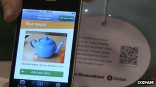 Oxfam's app adds a story to a teapot using QF Code technology