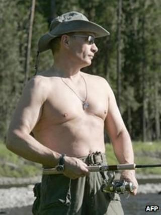 Vladimir Putin posing bare-chested in Siberia, August 2007